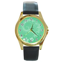 Light Green Abstract Flowers Round Metal Watch (Gold Rim)