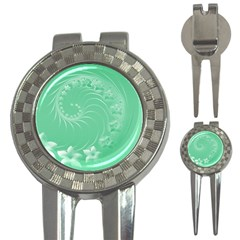 Light Green Abstract Flowers Golf Pitchfork & Ball Marker