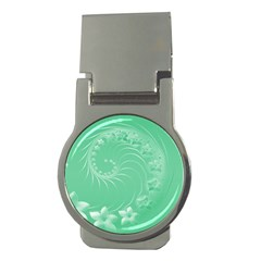 Light Green Abstract Flowers Money Clip (Round)