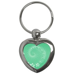 Light Green Abstract Flowers Key Chain (heart)