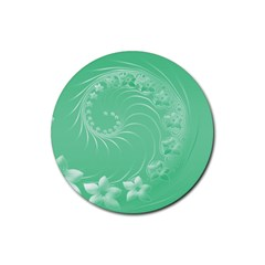 Light Green Abstract Flowers Drink Coaster (Round)