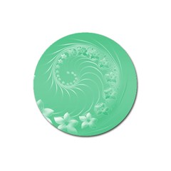 Light Green Abstract Flowers Magnet 3  (round)