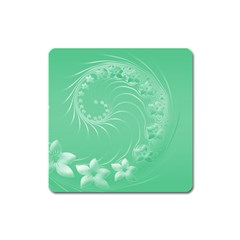 Light Green Abstract Flowers Magnet (square)