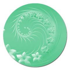 Light Green Abstract Flowers Magnet 5  (Round)