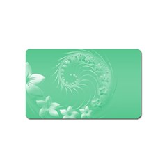 Light Green Abstract Flowers Magnet (Name Card)