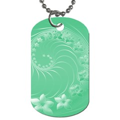 Light Green Abstract Flowers Dog Tag (One Sided)