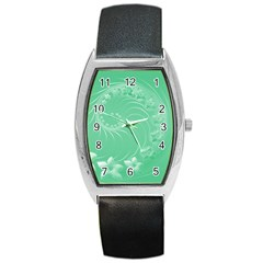 Light Green Abstract Flowers Tonneau Leather Watch