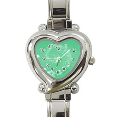 Light Green Abstract Flowers Heart Italian Charm Watch