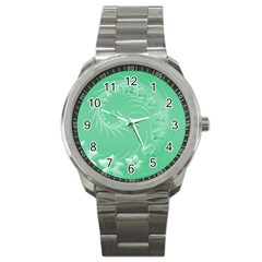 Light Green Abstract Flowers Sport Metal Watch