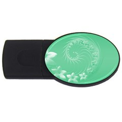Light Green Abstract Flowers 4GB USB Flash Drive (Oval)