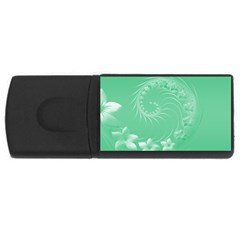 Light Green Abstract Flowers 4GB USB Flash Drive (Rectangle)