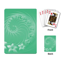 Light Green Abstract Flowers Playing Cards Single Design