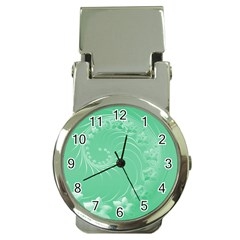 Light Green Abstract Flowers Money Clip with Watch
