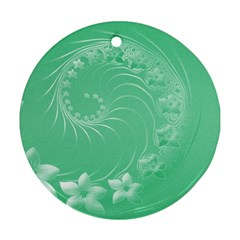 Light Green Abstract Flowers Round Ornament (Two Sides)