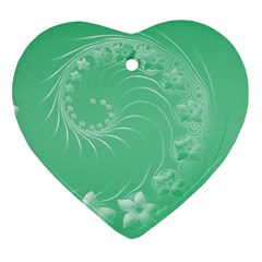 Light Green Abstract Flowers Heart Ornament (two Sides)