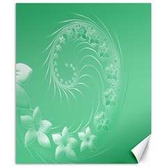 Light Green Abstract Flowers Canvas 8  X 10  (unframed)