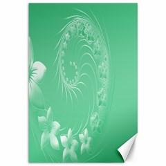 Light Green Abstract Flowers Canvas 12  X 18  (unframed)