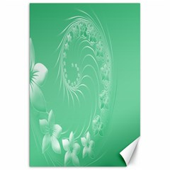 Light Green Abstract Flowers Canvas 20  x 30  (Unframed)