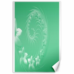 Light Green Abstract Flowers Canvas 24  X 36  (unframed)