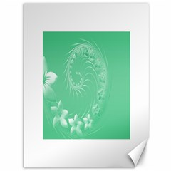 Light Green Abstract Flowers Canvas 36  x 48  (Unframed)