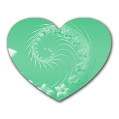 Light Green Abstract Flowers Mouse Pad (Heart)