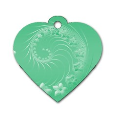 Light Green Abstract Flowers Dog Tag Heart (One Sided)