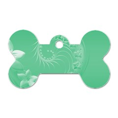 Light Green Abstract Flowers Dog Tag Bone (One Sided)