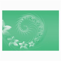 Light Green Abstract Flowers Glasses Cloth (Large)