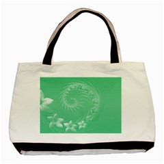 Light Green Abstract Flowers Twin Sided Black Tote Bag