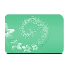 Light Green Abstract Flowers Small Door Mat