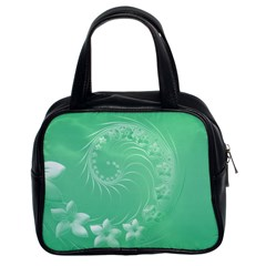 Light Green Abstract Flowers Classic Handbag (Two Sides)