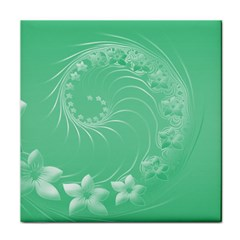 Light Green Abstract Flowers Face Towel