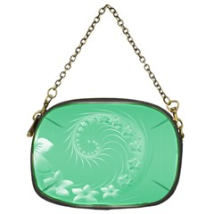 Light Green Abstract Flowers Chain Purse (One Side)