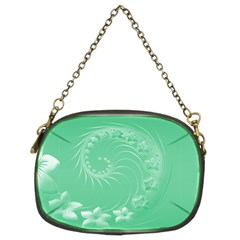 Light Green Abstract Flowers Chain Purse (two Side)