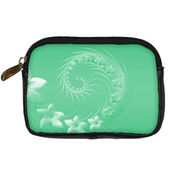 Light Green Abstract Flowers Digital Camera Leather Case