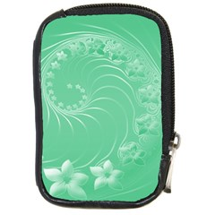 Light Green Abstract Flowers Compact Camera Leather Case