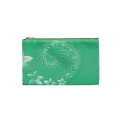 Light Green Abstract Flowers Cosmetic Bag (Small)