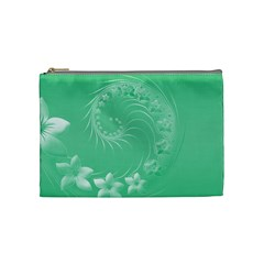 Light Green Abstract Flowers Cosmetic Bag (Medium)