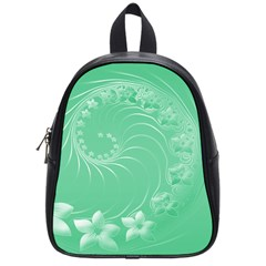 Light Green Abstract Flowers School Bag (Small)