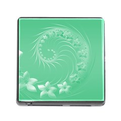 Light Green Abstract Flowers Memory Card Reader With Storage (square)