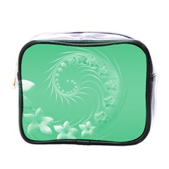 Light Green Abstract Flowers Mini Travel Toiletry Bag (One Side)