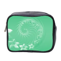Light Green Abstract Flowers Mini Travel Toiletry Bag (Two Sides)