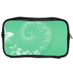 Light Green Abstract Flowers Travel Toiletry Bag (One Side)