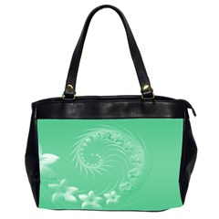 Light Green Abstract Flowers Oversize Office Handbag (Two Sides)