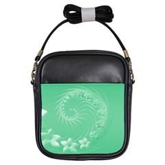 Light Green Abstract Flowers Girl s Sling Bag