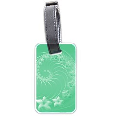 Light Green Abstract Flowers Luggage Tag (Two Sides)