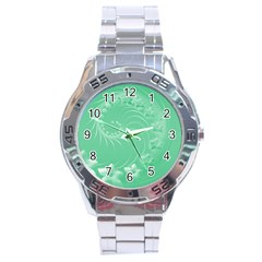 Light Green Abstract Flowers Stainless Steel Watch (Men s)