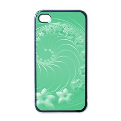 Light Green Abstract Flowers Apple iPhone 4 Case (Black)