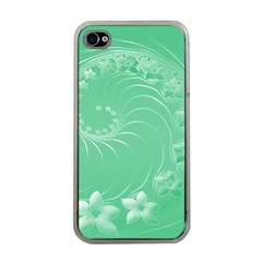Light Green Abstract Flowers Apple iPhone 4 Case (Clear)