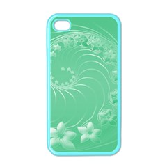 Light Green Abstract Flowers Apple iPhone 4 Case (Color)